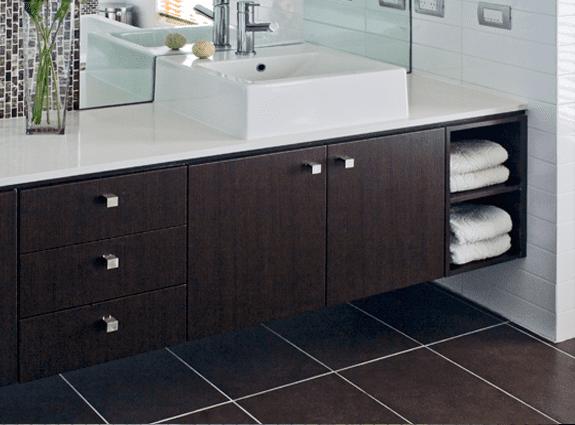 bathroom dark brown hanging shelves