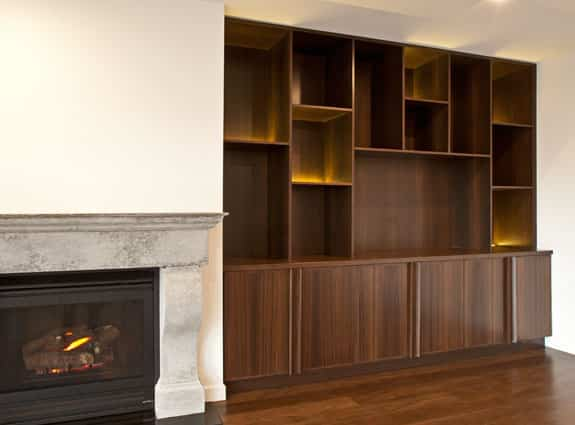 fireplace wood shelves