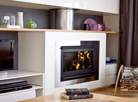 fireplace modern shelves
