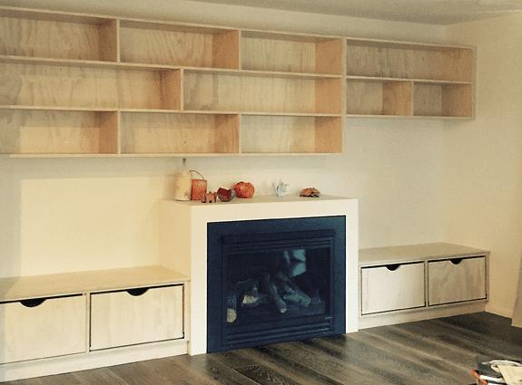 fire room custom shelves